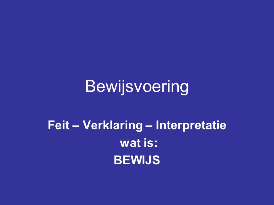 Bewijsvoering Feit – Verklaring – Interpretatie wat is: BEWIJS