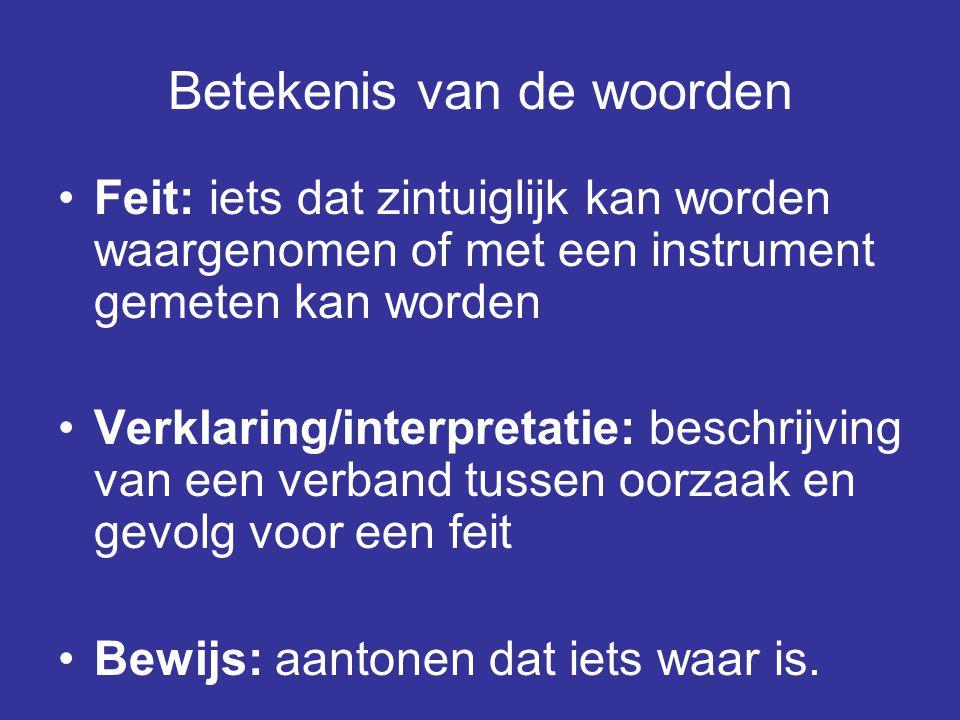 Betekenis van de woorden •Feit: iets dat zintuiglijk kan worden waargenomen of met een instrument gemeten kan worden •Verklaring/interpretatie: beschr