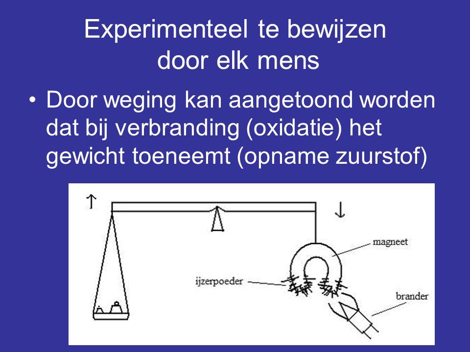 Experimenteel te bewijzen door elk mens •Door weging kan aangetoond worden dat bij verbranding (oxidatie) het gewicht toeneemt (opname zuurstof)