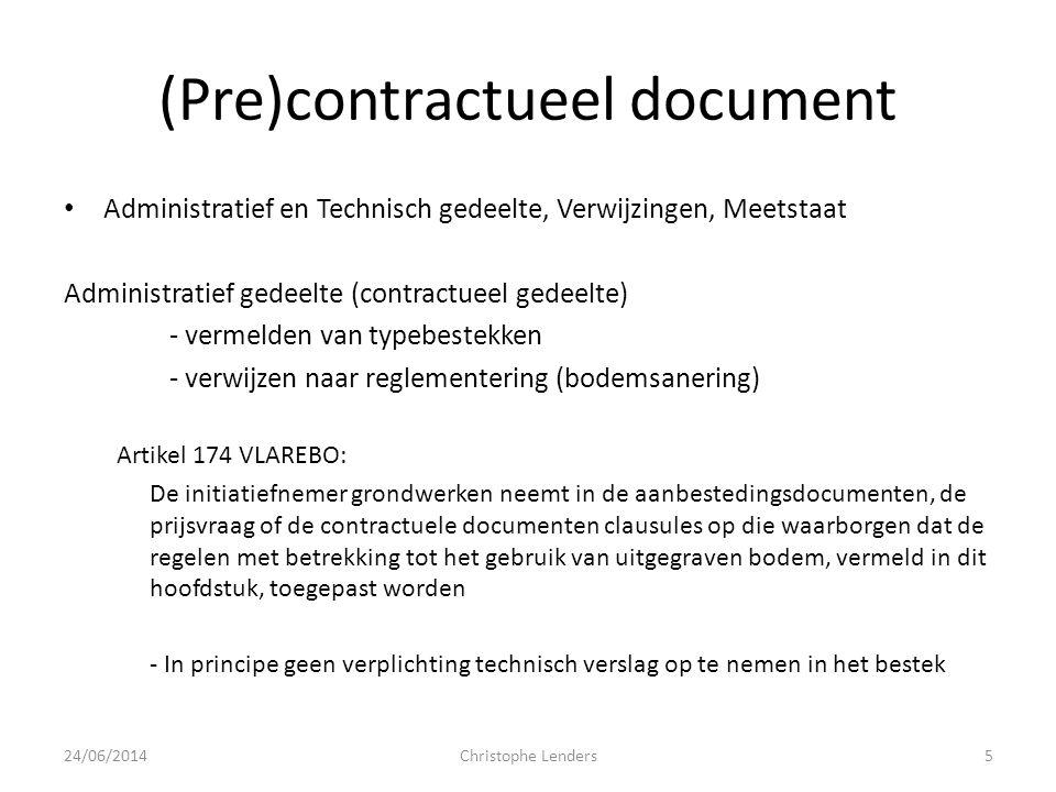 (Pre)contractueel document • Administratief en Technisch gedeelte, Verwijzingen, Meetstaat Administratief gedeelte (contractueel gedeelte) - vermelden
