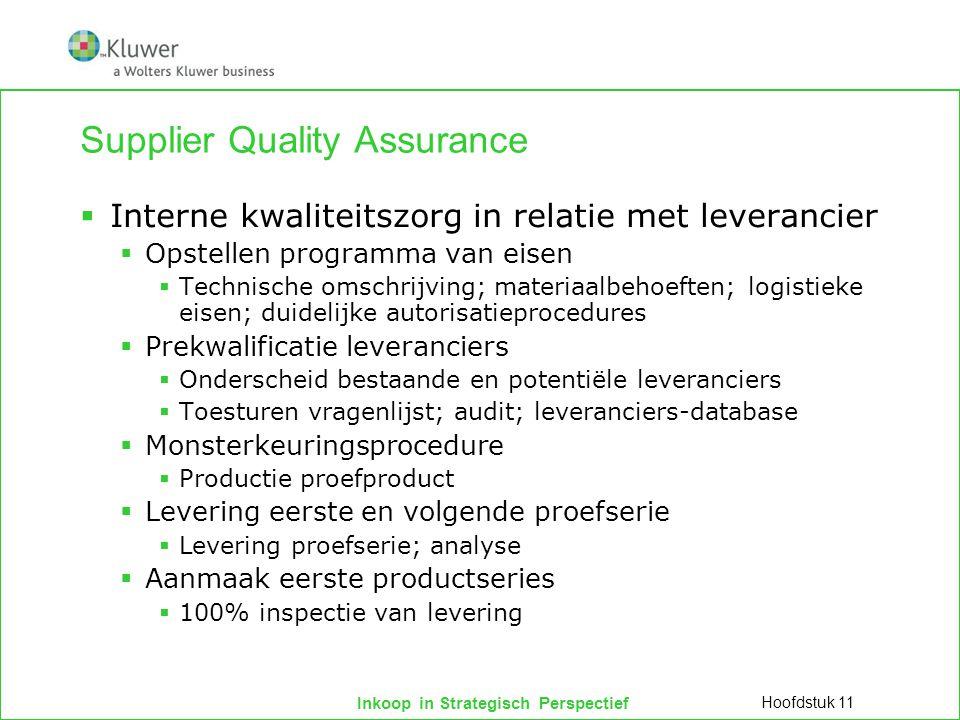 Inkoop in Strategisch Perspectief Supplier Quality Assurance  Interne kwaliteitszorg in relatie met leverancier  Opstellen programma van eisen  Tec