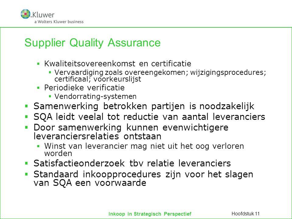 Inkoop in Strategisch Perspectief Supplier Quality Assurance  Kwaliteitsovereenkomst en certificatie  Vervaardiging zoals overeengekomen; wijzigings