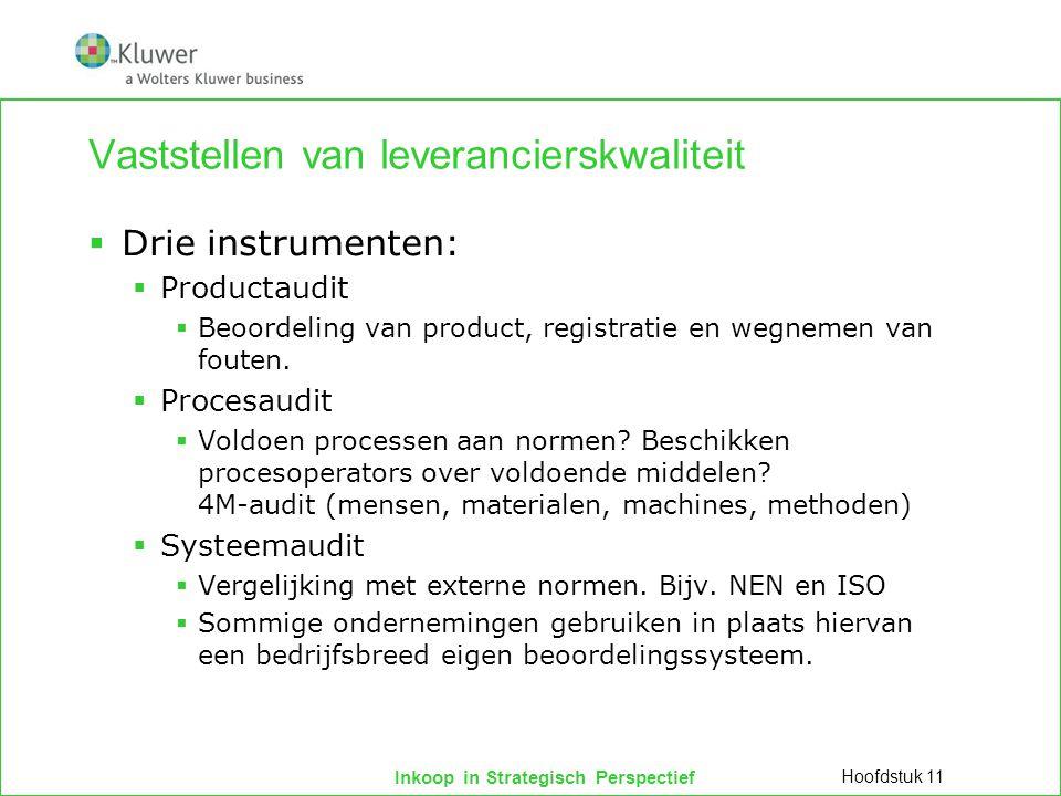 Inkoop in Strategisch Perspectief Vaststellen van leverancierskwaliteit  Drie instrumenten:  Productaudit  Beoordeling van product, registratie en