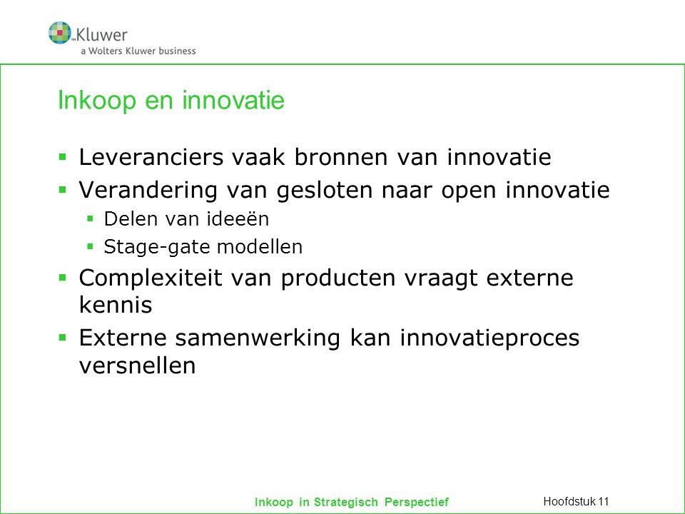 Inkoop in Strategisch Perspectief Inkoop en innovatie  Leveranciers vaak bronnen van innovatie  Verandering van gesloten naar open innovatie  Delen