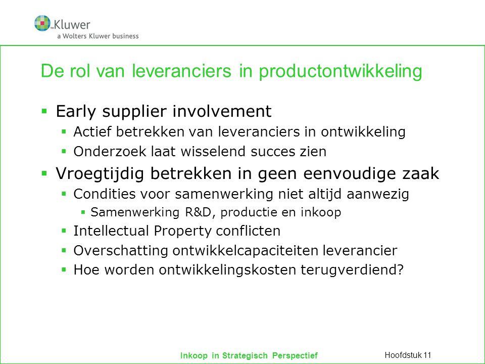 Inkoop in Strategisch Perspectief De rol van leveranciers in productontwikkeling  Early supplier involvement  Actief betrekken van leveranciers in o