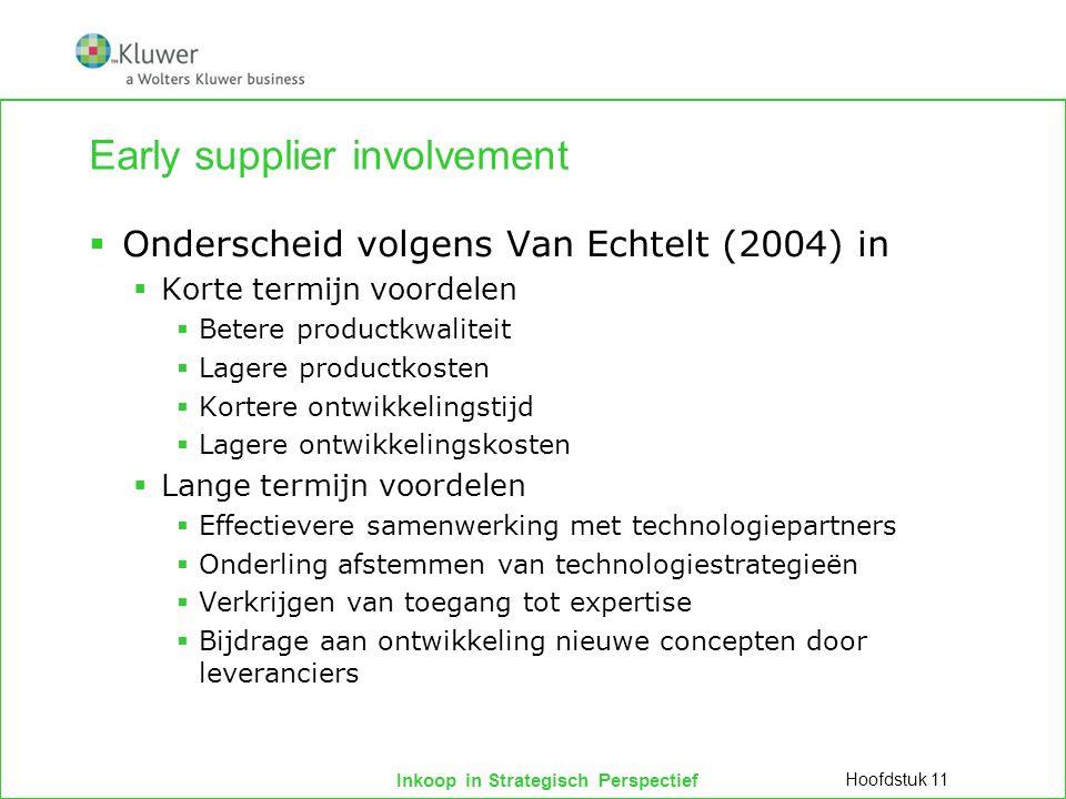 Inkoop in Strategisch Perspectief Early supplier involvement  Onderscheid volgens Van Echtelt (2004) in  Korte termijn voordelen  Betere productkwa