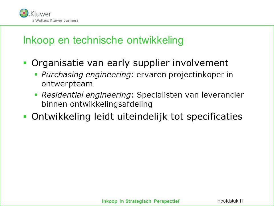 Inkoop in Strategisch Perspectief Inkoop en technische ontwikkeling  Organisatie van early supplier involvement  Purchasing engineering: ervaren pro