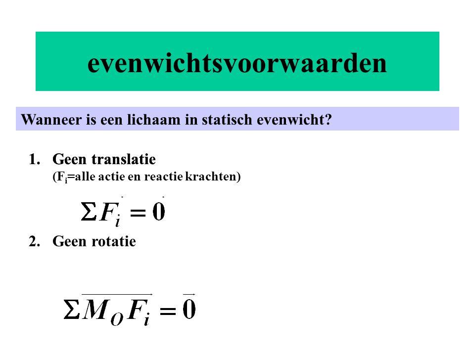 evenwichtsvoorwaarden Wanneer is een lichaam in statisch evenwicht? 1.Geen translatie1.Geen translatie (F i =alle actie en reactie krachten) 2.Geen ro