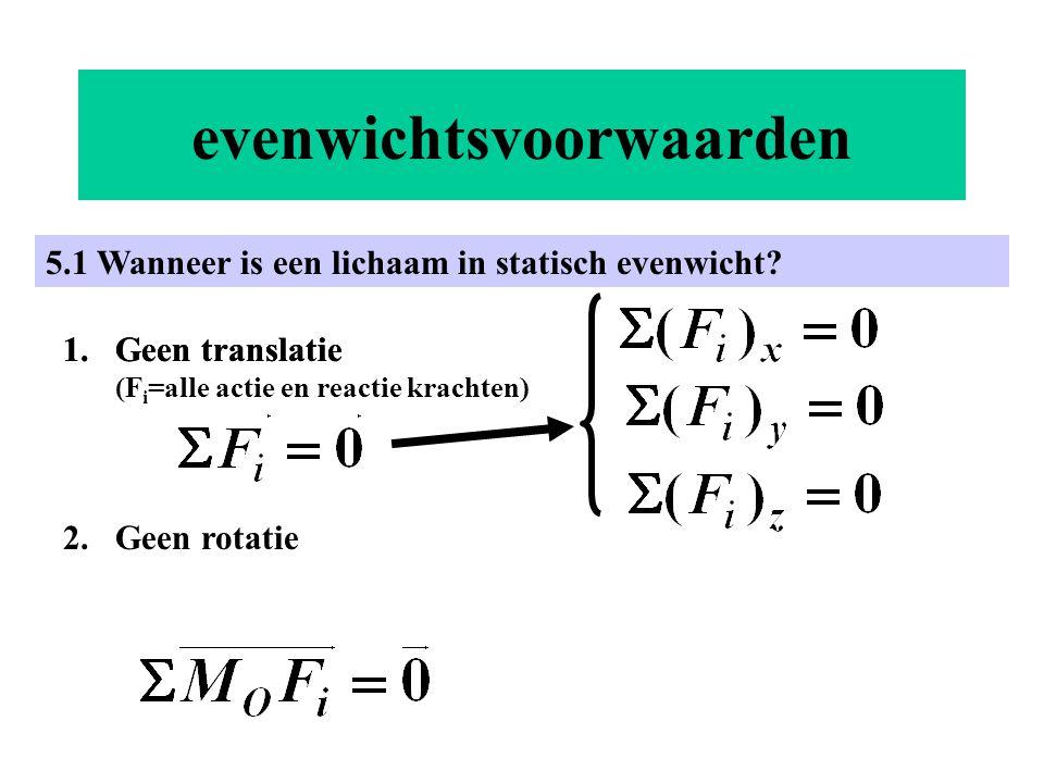 evenwichtsvoorwaarden 5.1 Wanneer is een lichaam in statisch evenwicht? 1.Geen translatie 2.Geen rotatie 1.Geen translatie (F i =alle actie en reactie