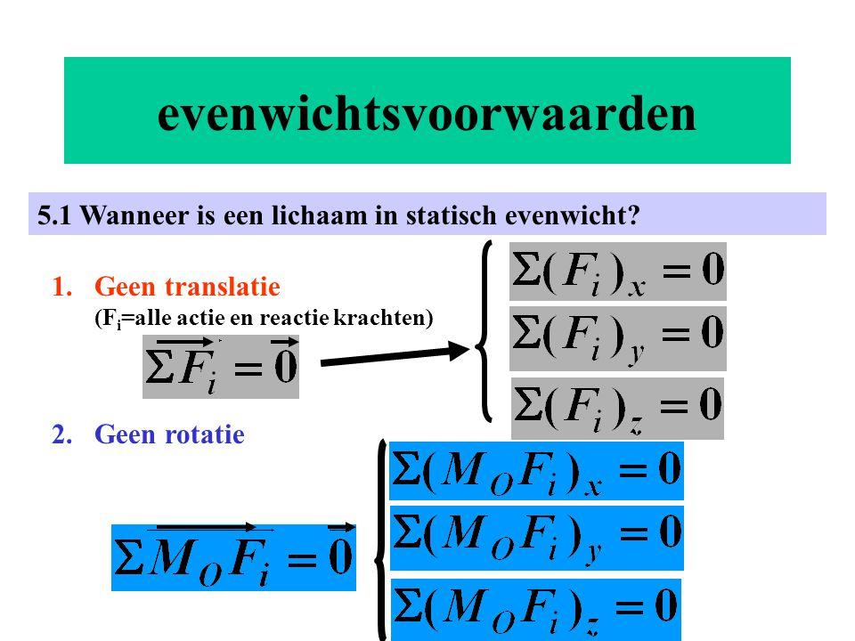 evenwichtsvoorwaarden 5.1 Wanneer is een lichaam in statisch evenwicht? 1.Geen translatie (F i =alle actie en reactie krachten) 2.Geen rotatie