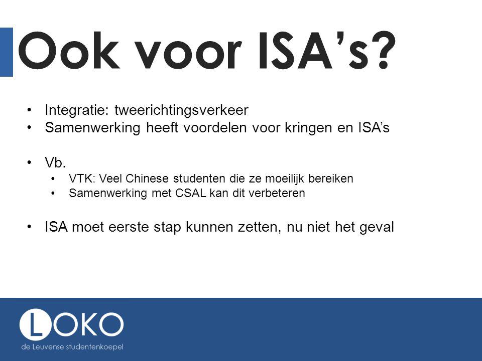 Ook voor ISA's? •Integratie: tweerichtingsverkeer •Samenwerking heeft voordelen voor kringen en ISA's •Vb. •VTK: Veel Chinese studenten die ze moeilij