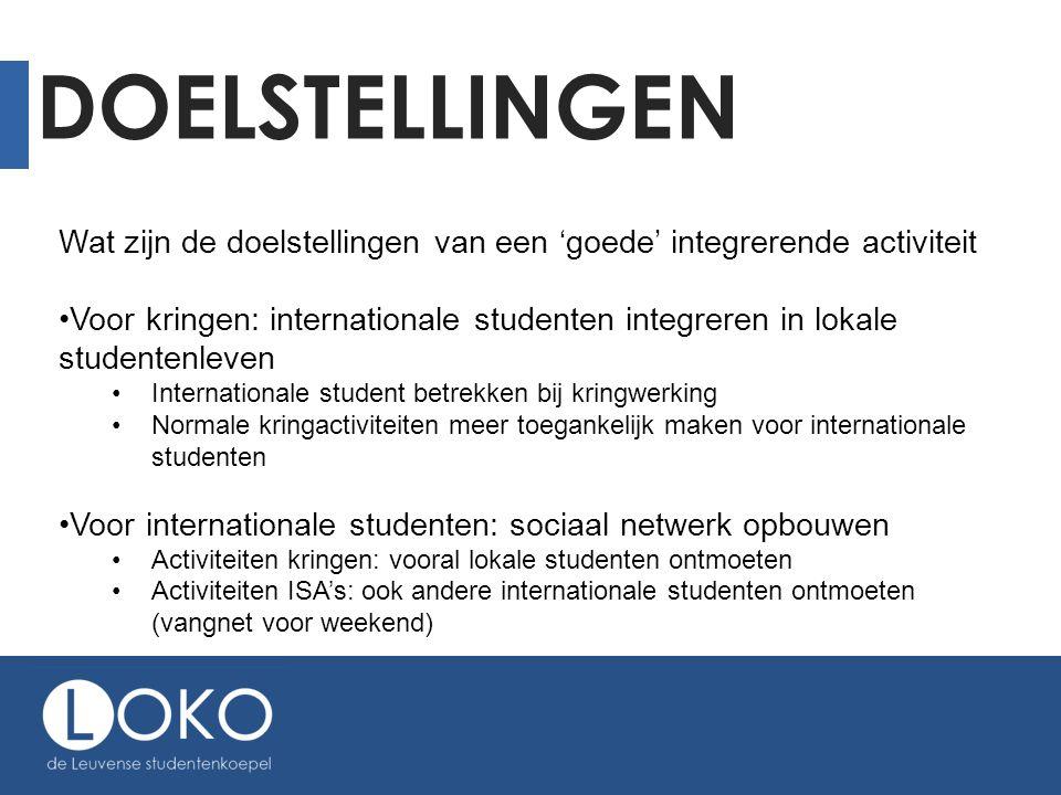 DOELSTELLINGEN Wat zijn de doelstellingen van een 'goede' integrerende activiteit •Voor kringen: internationale studenten integreren in lokale student
