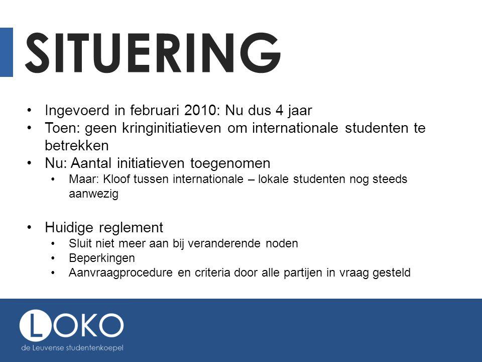 SITUERING •Ingevoerd in februari 2010: Nu dus 4 jaar •Toen: geen kringinitiatieven om internationale studenten te betrekken •Nu: Aantal initiatieven t