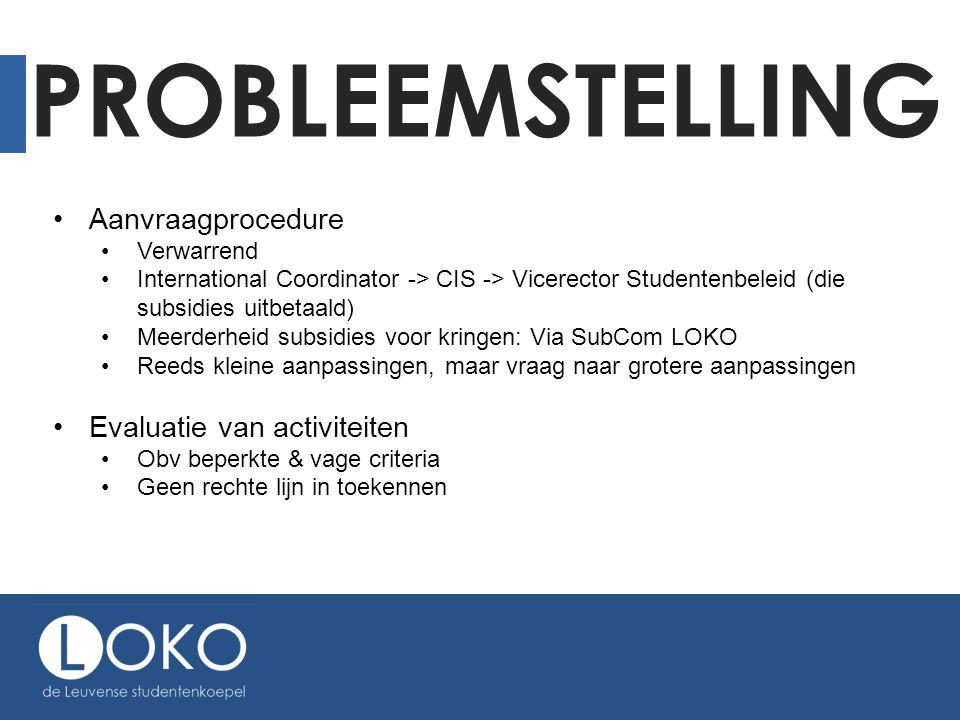 PROBLEEMSTELLING •Aanvraagprocedure •Verwarrend •International Coordinator -> CIS -> Vicerector Studentenbeleid (die subsidies uitbetaald) •Meerderhei