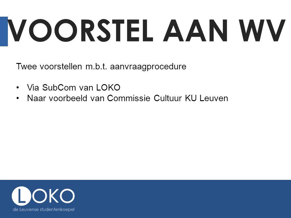 VOORSTEL AAN WV Twee voorstellen m.b.t. aanvraagprocedure •Via SubCom van LOKO •Naar voorbeeld van Commissie Cultuur KU Leuven