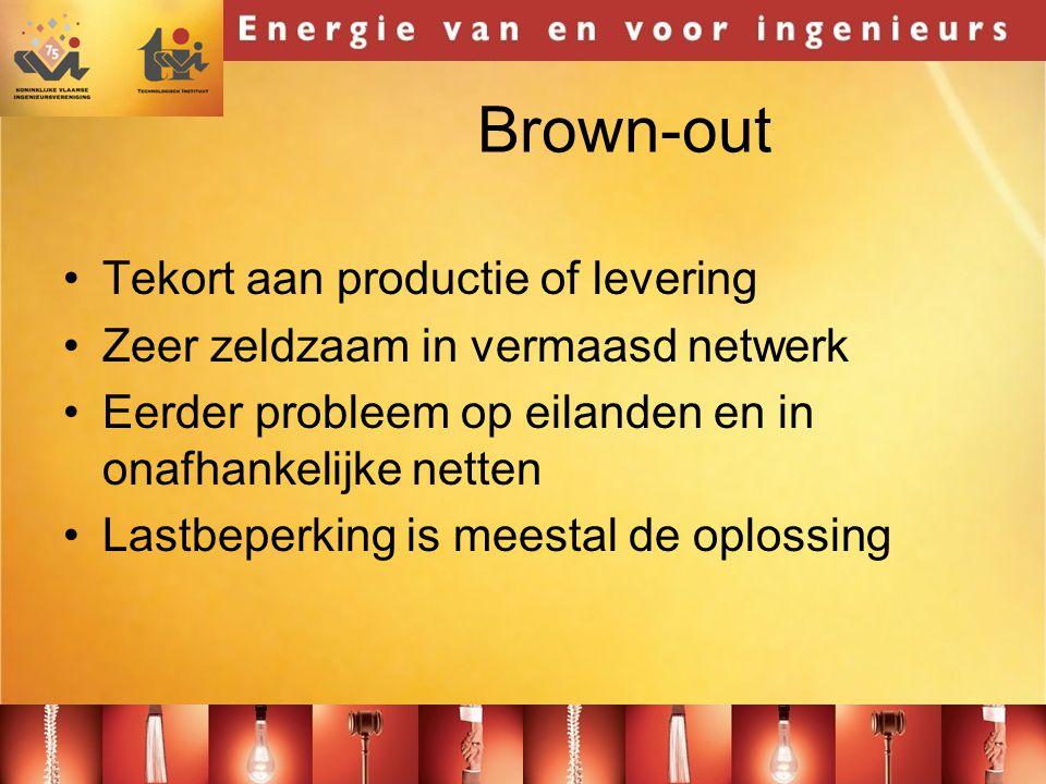 Brown-out •Tekort aan productie of levering •Zeer zeldzaam in vermaasd netwerk •Eerder probleem op eilanden en in onafhankelijke netten •Lastbeperking is meestal de oplossing