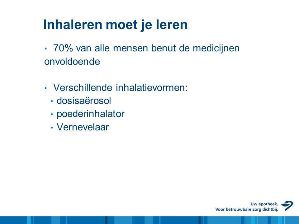 Inhaleren moet je leren • 70% van alle mensen benut de medicijnen onvoldoende • Verschillende inhalatievormen: • dosisaërosol • poederinhalator • Vern