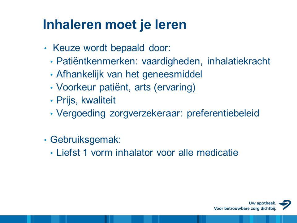 Inhaleren moet je leren • Keuze wordt bepaald door: • Patiëntkenmerken: vaardigheden, inhalatiekracht • Afhankelijk van het geneesmiddel • Voorkeur pa