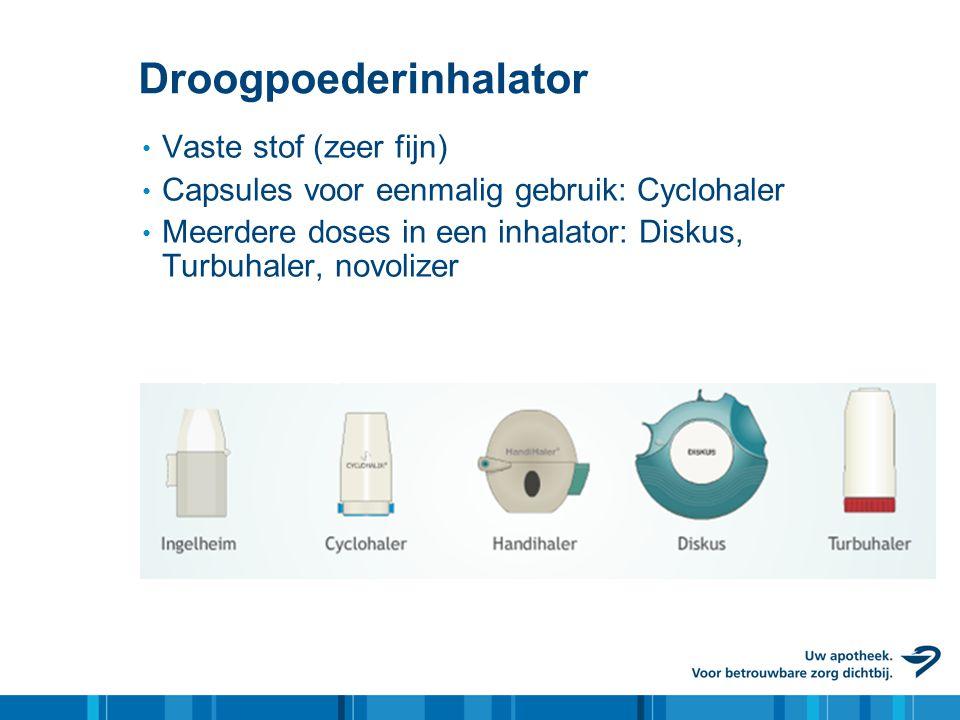 Droogpoederinhalator • Vaste stof (zeer fijn) • Capsules voor eenmalig gebruik: Cyclohaler • Meerdere doses in een inhalator: Diskus, Turbuhaler, novo