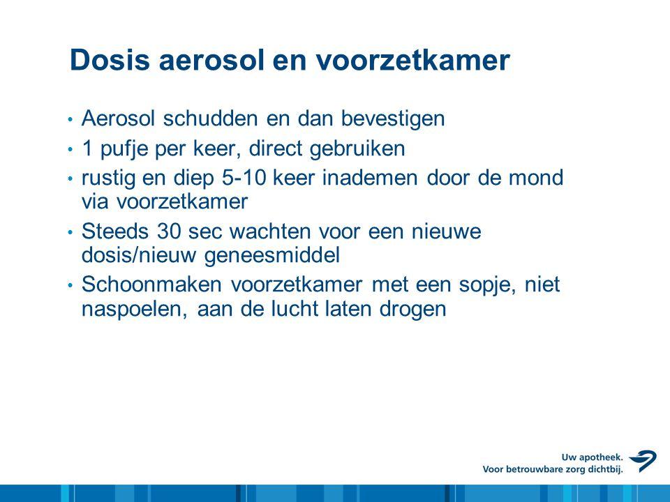 Dosis aerosol en voorzetkamer • Aerosol schudden en dan bevestigen • 1 pufje per keer, direct gebruiken • rustig en diep 5-10 keer inademen door de mo