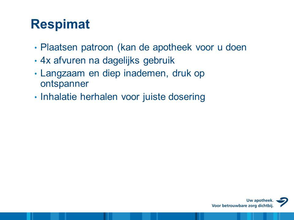 Respimat • Plaatsen patroon (kan de apotheek voor u doen • 4x afvuren na dagelijks gebruik • Langzaam en diep inademen, druk op ontspanner • Inhalatie
