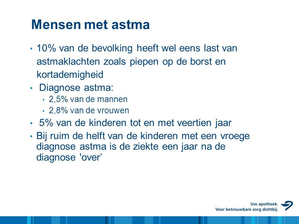 Mensen met astma • 10% van de bevolking heeft wel eens last van astmaklachten zoals piepen op de borst en kortademigheid • Diagnose astma: • 2,5% van