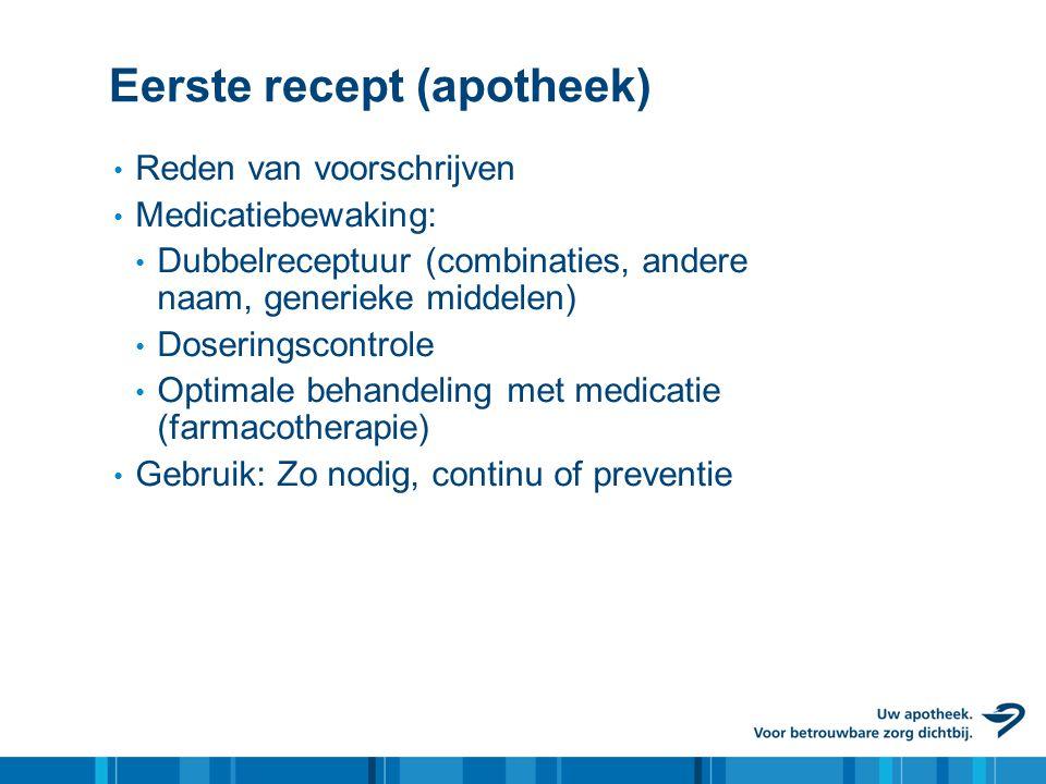 Eerste recept (apotheek) • Reden van voorschrijven • Medicatiebewaking: • Dubbelreceptuur (combinaties, andere naam, generieke middelen) • Doseringsco