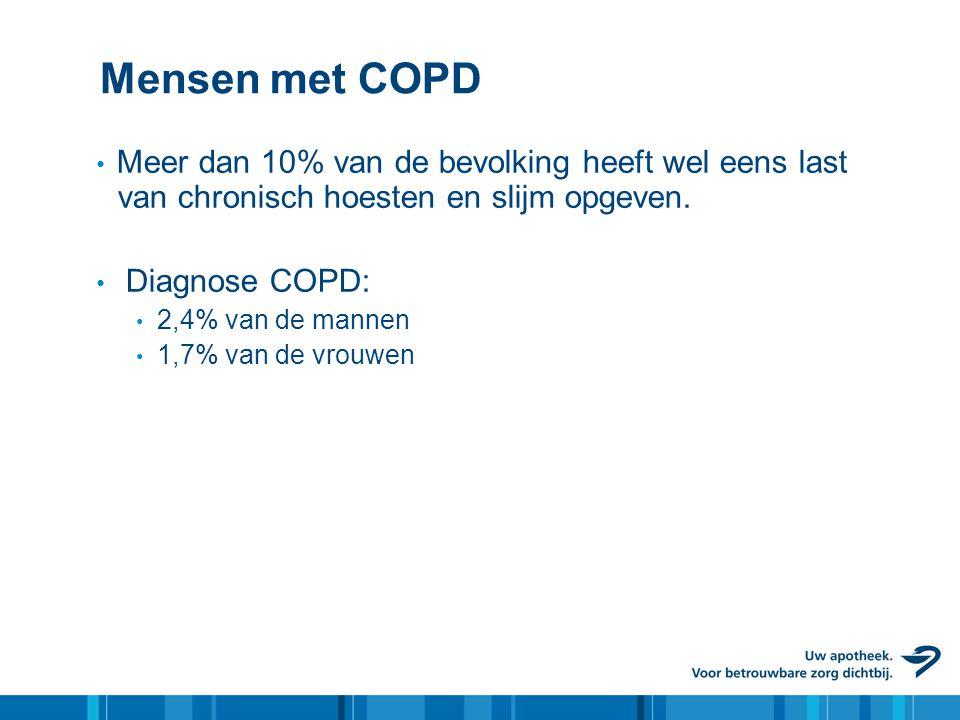 Mensen met COPD • Meer dan 10% van de bevolking heeft wel eens last van chronisch hoesten en slijm opgeven. • Diagnose COPD: • 2,4% van de mannen • 1,