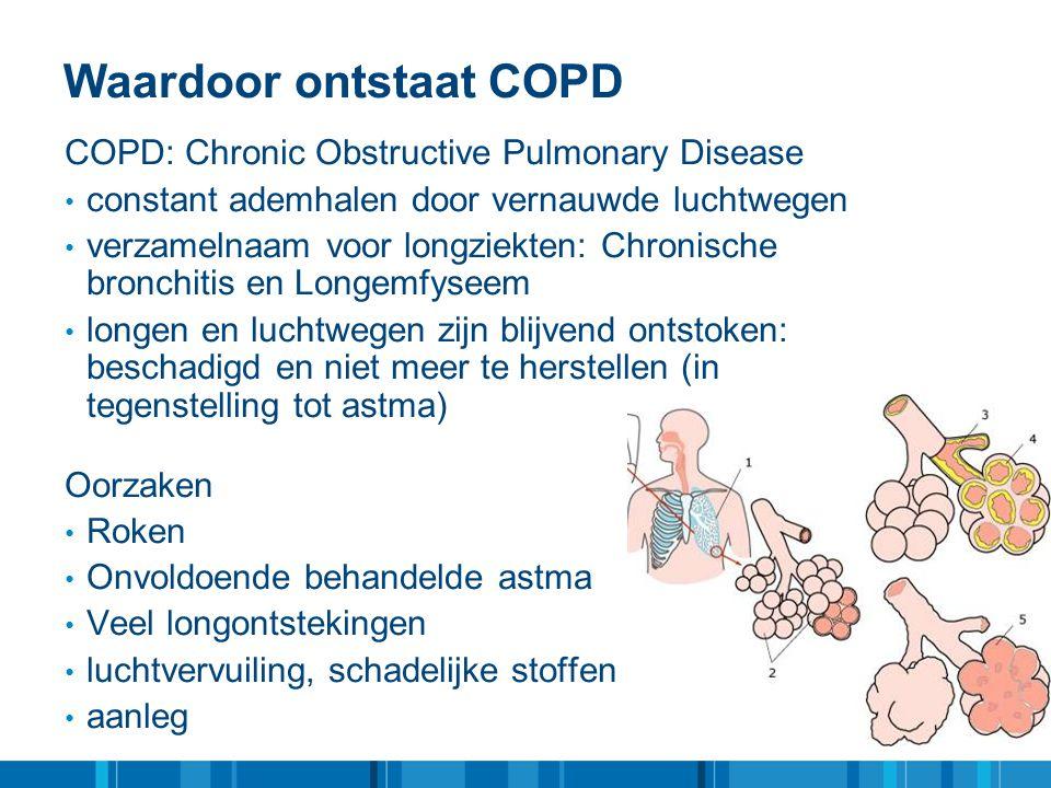 Waardoor ontstaat COPD COPD: Chronic Obstructive Pulmonary Disease • constant ademhalen door vernauwde luchtwegen • verzamelnaam voor longziekten: Chr