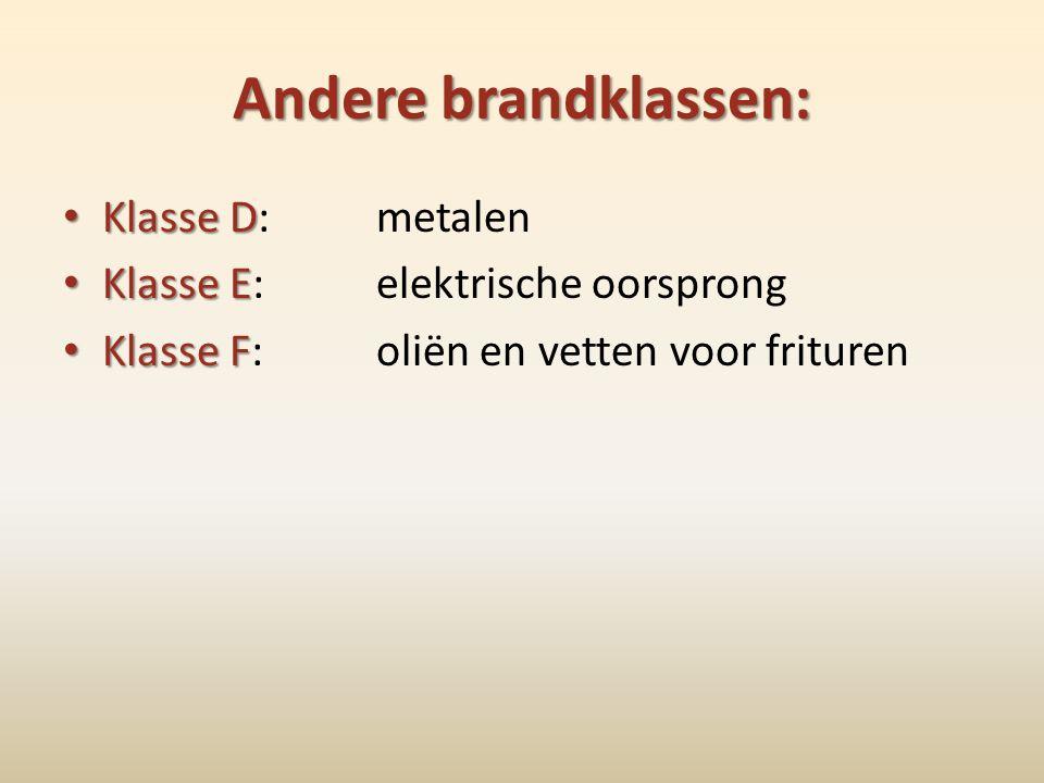 Andere brandklassen: • Klasse D • Klasse D: metalen • Klasse E • Klasse E: elektrische oorsprong • Klasse F • Klasse F:oliën en vetten voor frituren