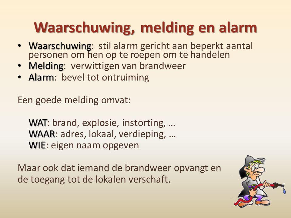 Waarschuwing, melding en alarm • Waarschuwing • Waarschuwing: stil alarm gericht aan beperkt aantal personen om hen op te roepen om te handelen • Meld