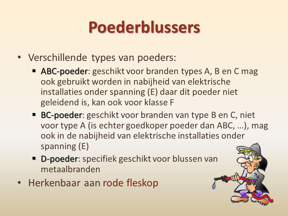 Poederblussers • Verschillende types van poeders:  ABC-poeder  ABC-poeder: geschikt voor branden types A, B en C mag ook gebruikt worden in nabijhei