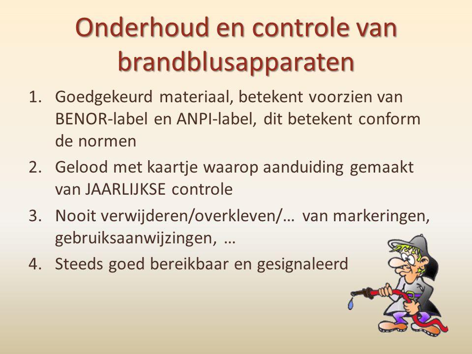 Onderhoud en controle van brandblusapparaten 1.Goedgekeurd materiaal, betekent voorzien van BENOR-label en ANPI-label, dit betekent conform de normen