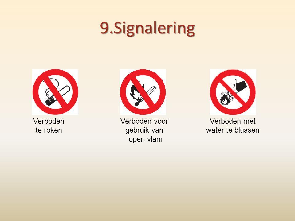 9.Signalering Verboden te roken Verboden voor gebruik van open vlam Verboden met water te blussen
