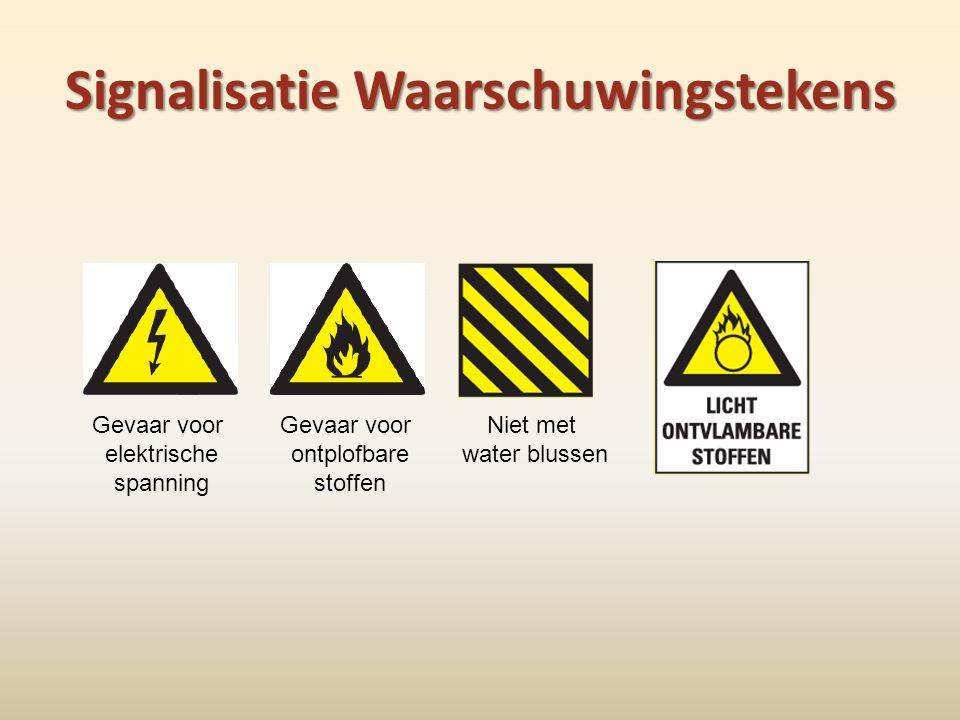 Signalisatie Waarschuwingstekens Gevaar voor elektrische spanning Niet met water blussen Gevaar voor ontplofbare stoffen