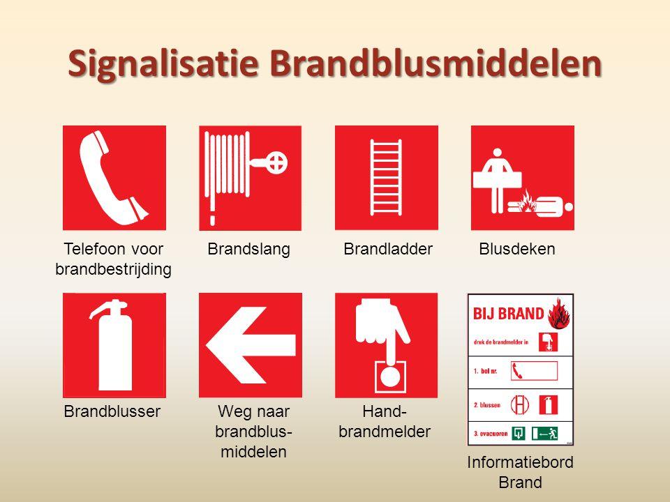 Signalisatie Brandblusmiddelen BrandslangBrandladderBlusdekenTelefoon voor brandbestrijding BrandblusserWeg naar brandblus- middelen Hand- brandmelder
