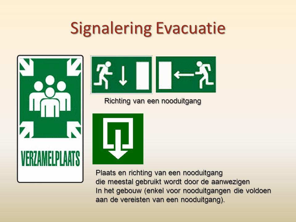 Signalering Evacuatie Richting van een nooduitgang Plaats en richting van een nooduitgang die meestal gebruikt wordt door de aanwezigen In het gebouw