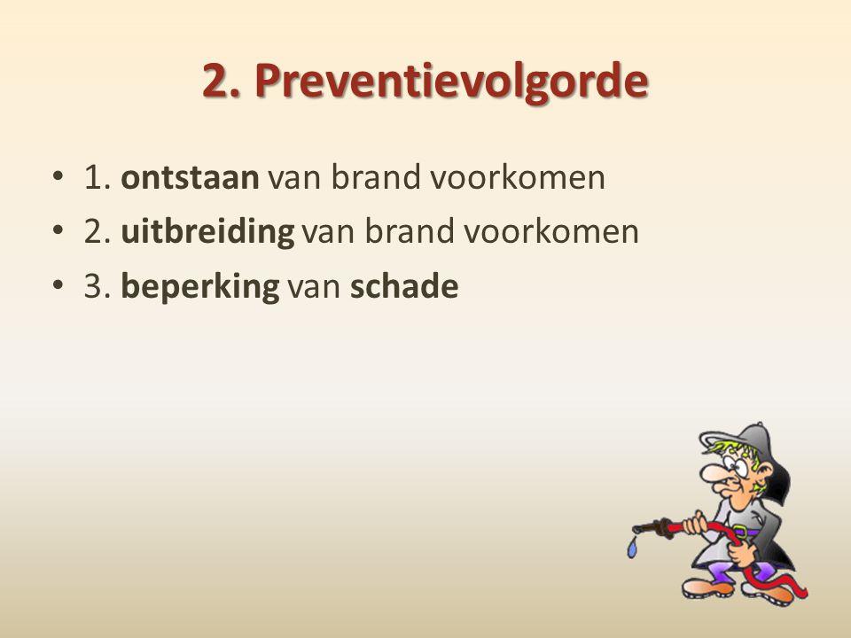 2. Preventievolgorde • 1. ontstaan van brand voorkomen • 2. uitbreiding van brand voorkomen • 3. beperking van schade