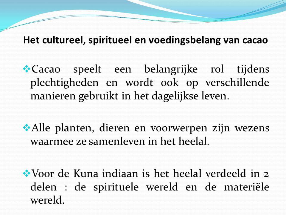 Het cultureel, spiritueel en voedingsbelang van cacao  De vrucht van de cacaoboom is helemaal geïntegreerd in de kosmologie van de Kuna.