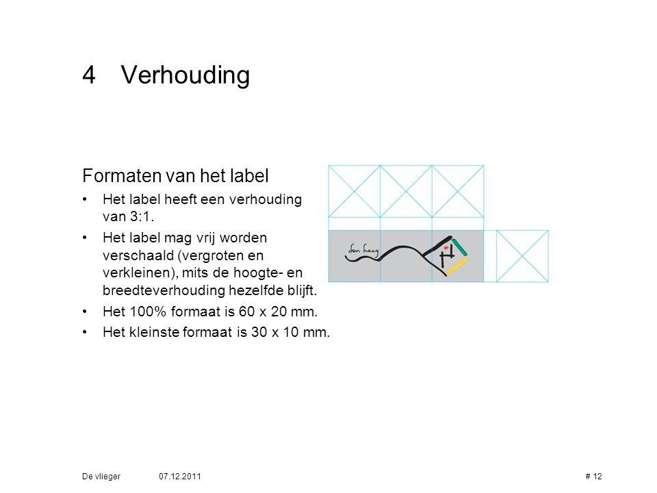 07.12.2011De vlieger# 12 4Verhouding Formaten van het label • Het label heeft een verhouding van 3:1. • Het label mag vrij worden verschaald (vergrote