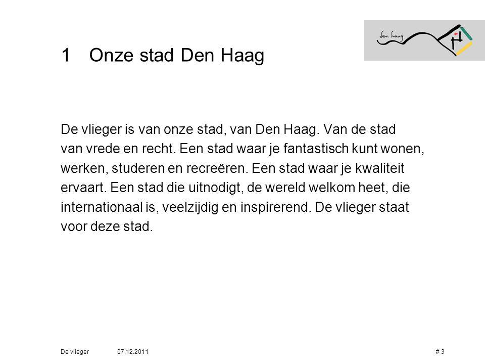 07.12.2011De vlieger# 3 1Onze stad Den Haag De vlieger is van onze stad, van Den Haag. Van de stad van vrede en recht. Een stad waar je fantastisch ku