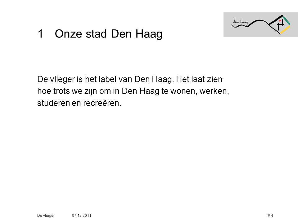 07.12.2011De vlieger# 15 5Varianten Verschillende talen • Het label van Den Haag is beschikbaar in vier talen: – Nederlands > de vlieger – Engels > the kite – Frans > le cerf-volant – Chinees > the kite •Alle labels zijn te downloaden op www.denhaag.nl/devlieger