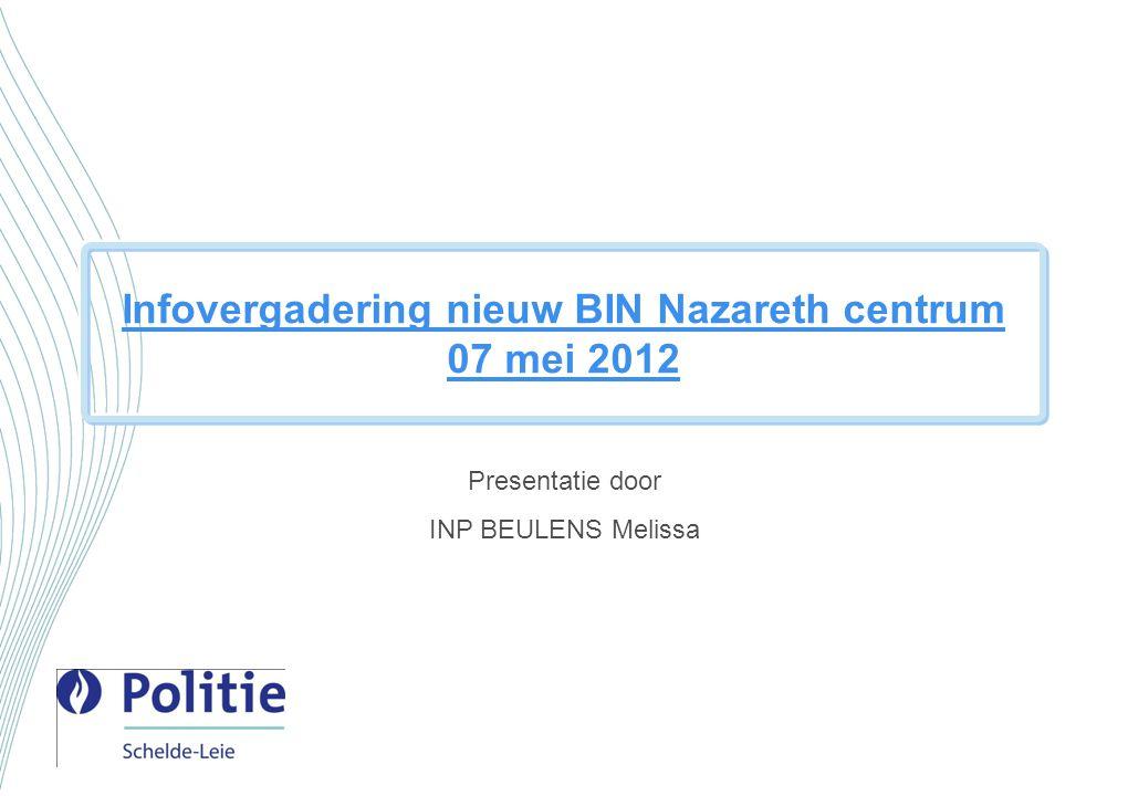 Infovergadering nieuw BIN Nazareth centrum 07 mei 2012 Presentatie door INP BEULENS Melissa