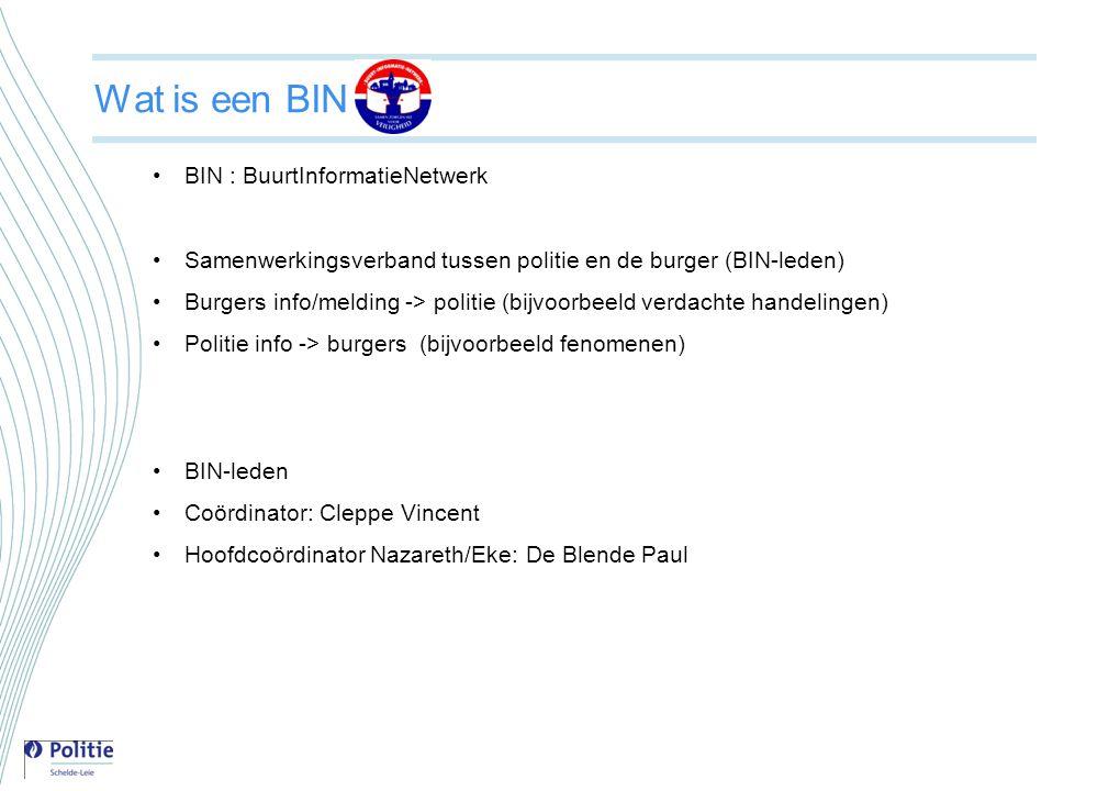 Wat is een BIN •BIN : BuurtInformatieNetwerk •Samenwerkingsverband tussen politie en de burger (BIN-leden) •Burgers info/melding -> politie (bijvoorbe