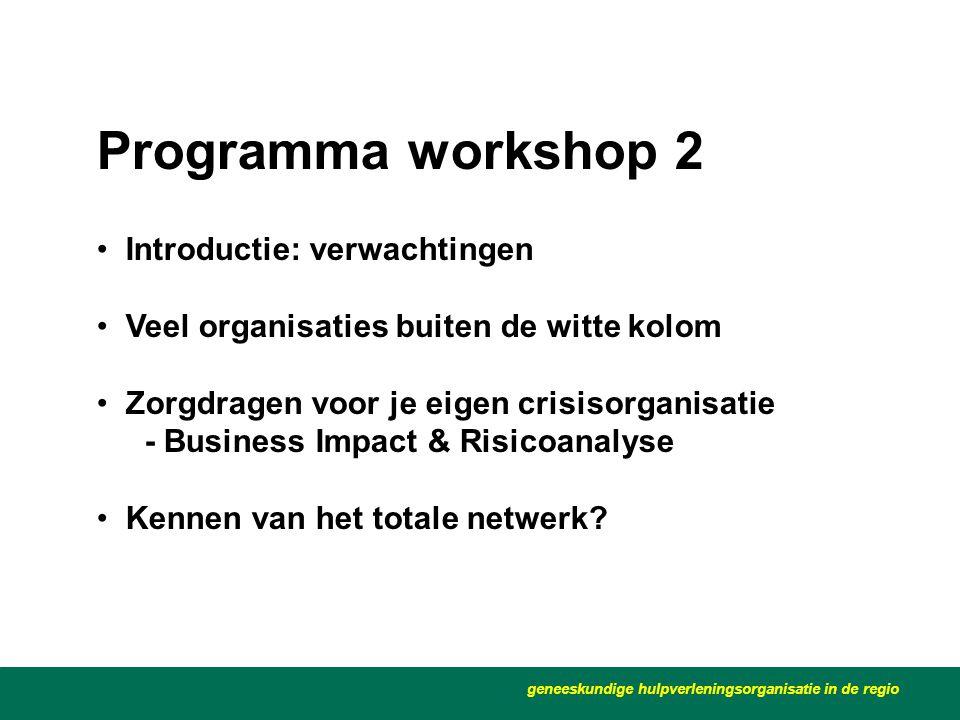 Programma workshop 2 geneeskundige hulpverleningsorganisatie in de regio • Introductie: verwachtingen • Veel organisaties buiten de witte kolom • Zorg