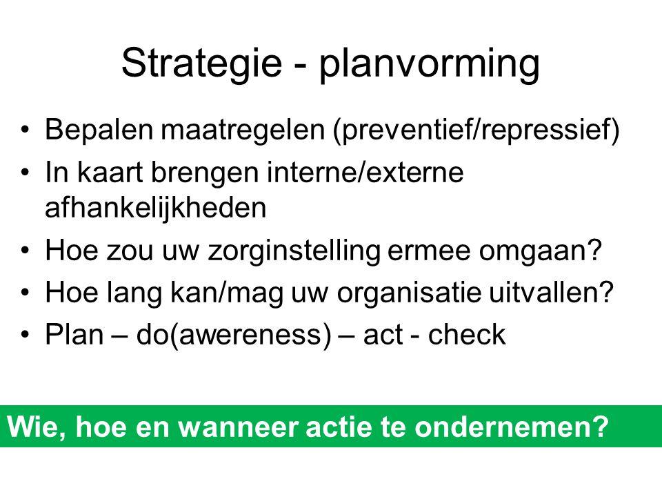 Strategie - planvorming •Bepalen maatregelen (preventief/repressief) •In kaart brengen interne/externe afhankelijkheden •Hoe zou uw zorginstelling erm