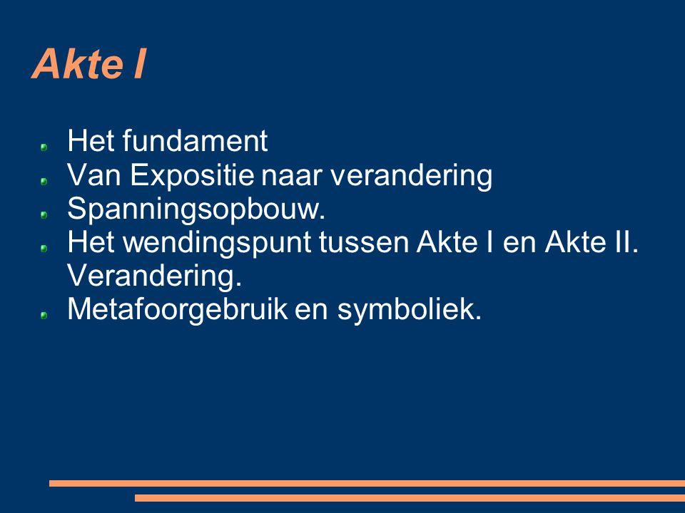 Akte I Het fundament Van Expositie naar verandering Spanningsopbouw. Het wendingspunt tussen Akte I en Akte II. Verandering. Metafoorgebruik en symbol