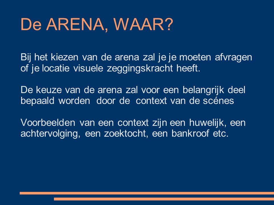 De ARENA, WAAR? Bij het kiezen van de arena zal je je moeten afvragen of je locatie visuele zeggingskracht heeft. De keuze van de arena zal voor een b
