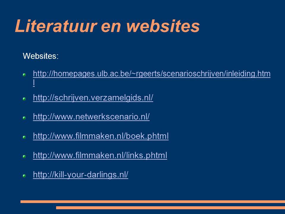 Websites: http://homepages.ulb.ac.be/~rgeerts/scenarioschrijven/inleiding.htm l http://schrijven.verzamelgids.nl/ http://www.netwerkscenario.nl/ http: