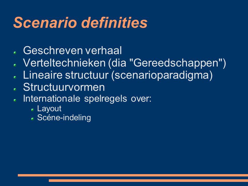 Scenario definities Geschreven verhaal Verteltechnieken (dia